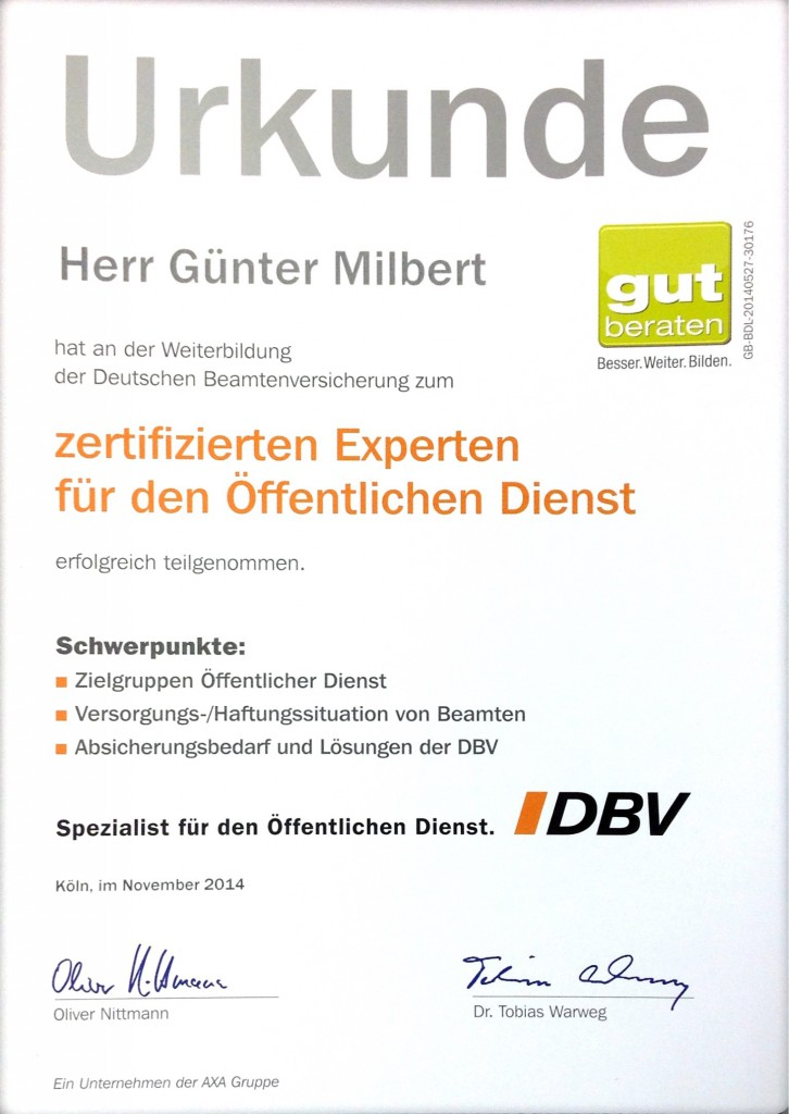 """Urkunde """"zertifizierter Experte für den öffentlichen Dienst"""""""